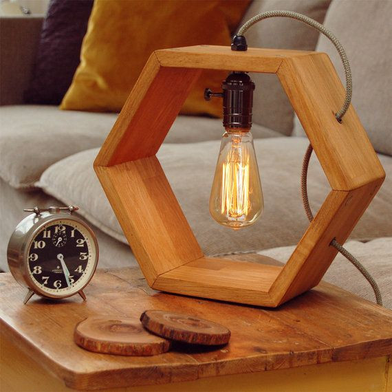 Wooden Lamp Designs Wooden Handmade Vintshop Hexagon Design Table Lamp with