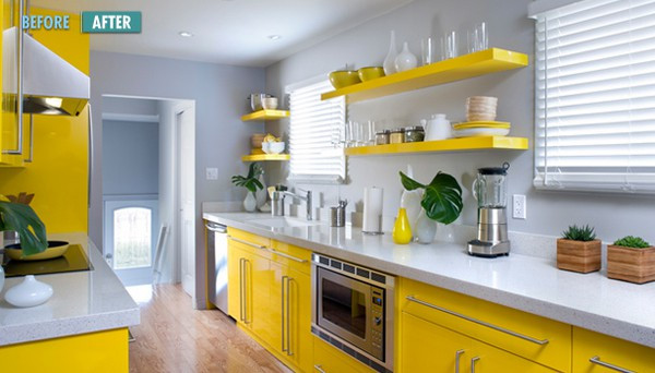 Yellow Kitchen Designs Hot Color Bo Yellow & Gray