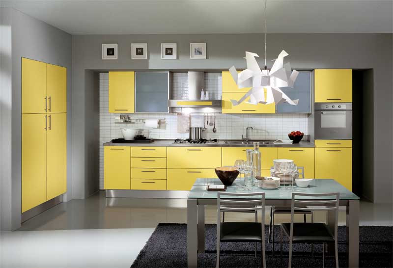 Yellow Kitchen Designs Modern Yellow Kitchen Design with Unique Chandelier and