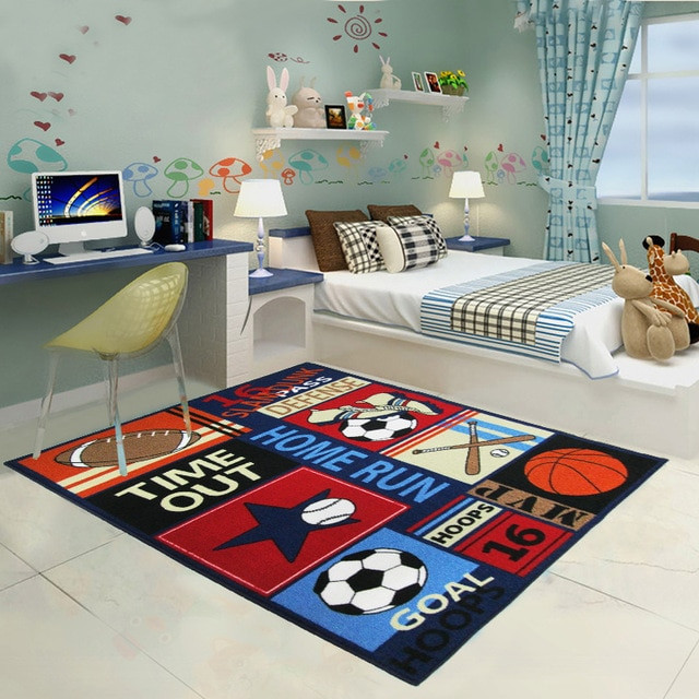 Carpet Designs for Kids 2 Sizes Sports Balls Rug and Carpet for Kids Bedroom Funny