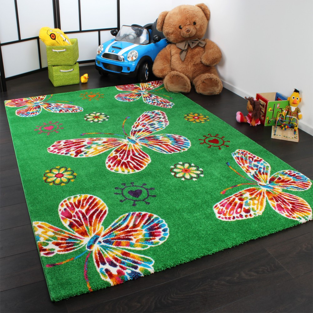 Carpet Designs for Kids Kids butterfly Green