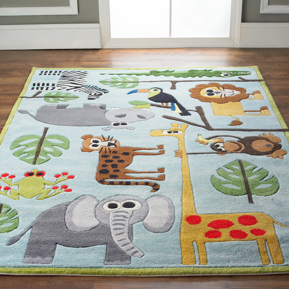 Carpet Designs for Kids Whimsical Safari Animals Rug Shades Of Light