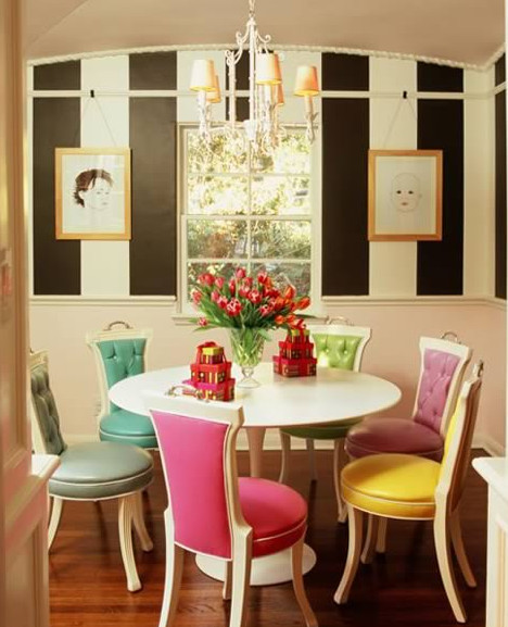 Dining Room Multicolored Chairs Candy Colored Mismatched Dining Chairs