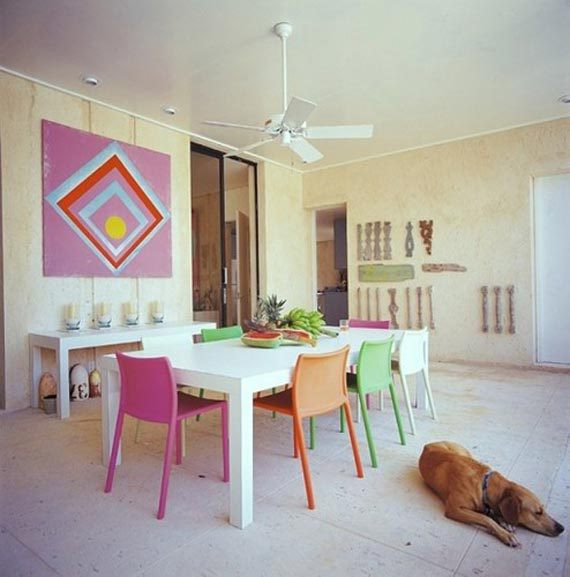 Dining Room Multicolored Chairs Colorful Dining Room with Multicolored Chairs