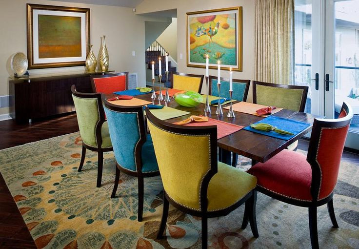 Dining Room Multicolored Chairs Interior and Art Files Multi Color Dining Chairs
