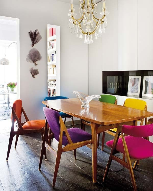 Multi colored dining chairs – a playful touch for the décor