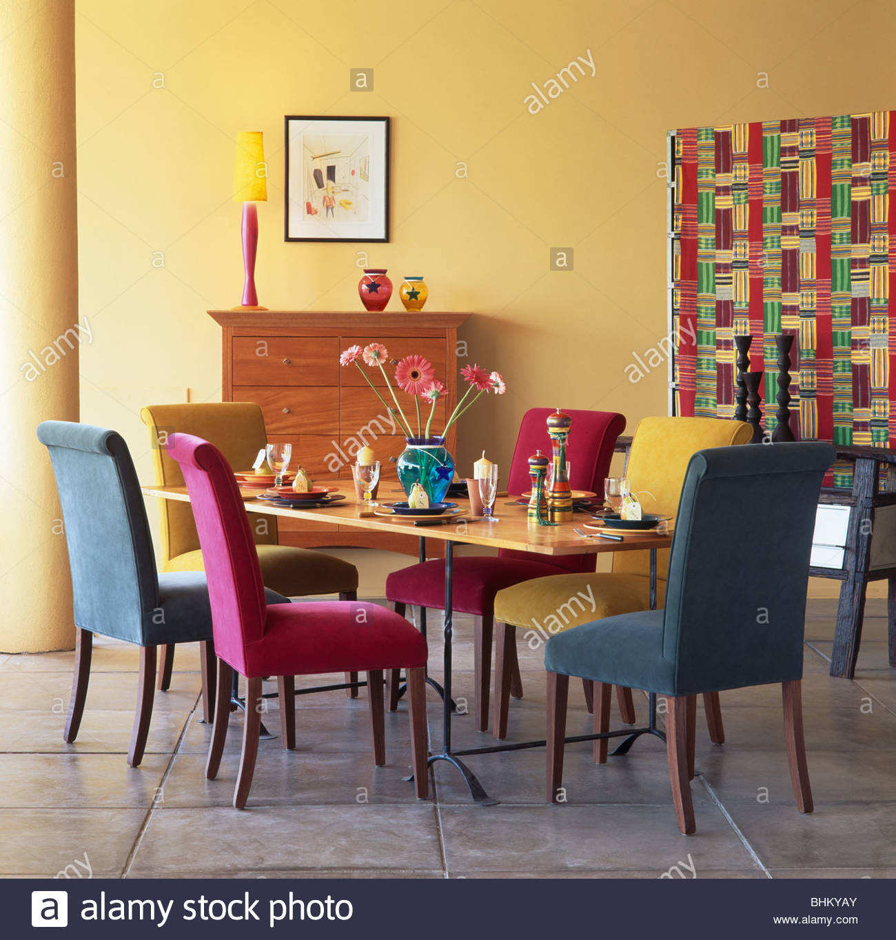Dining Room Multicolored Chairs Pink Turquoise and Blue Velour Upholstered Dining Chairs