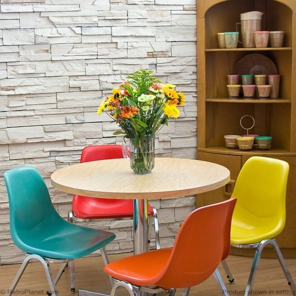 Dining Room Multicolored Chairs Round Dinette Set with Multi Colored Chairs