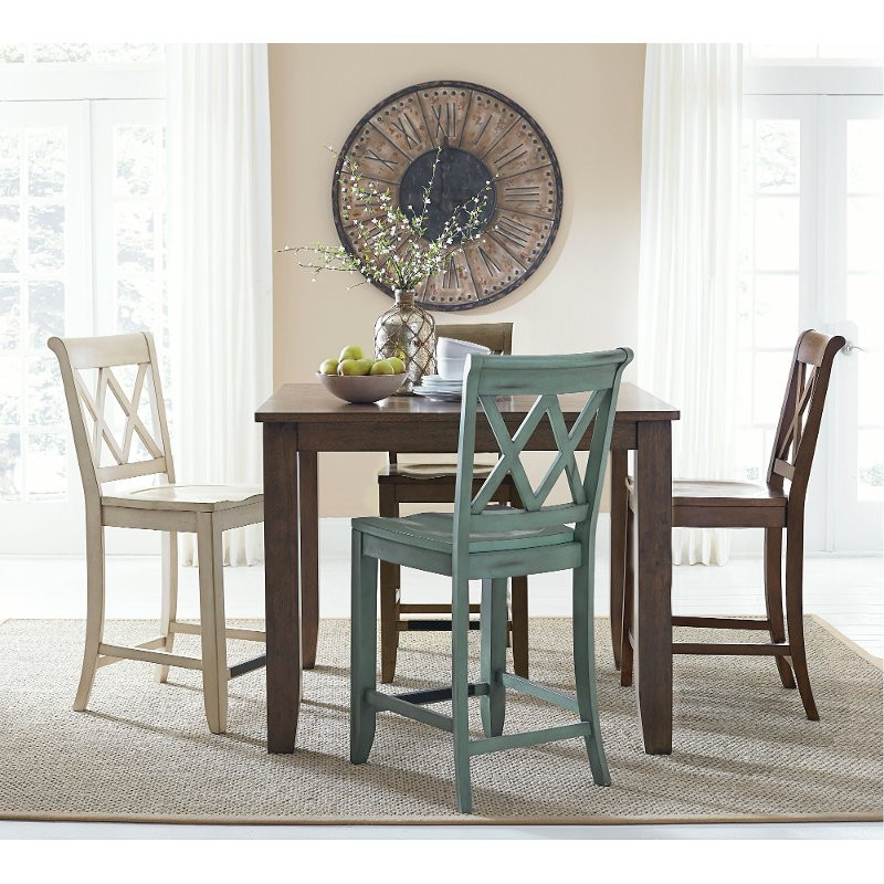 Dining Room Multicolored Chairs Vintage Multi Colored 5 Piece Counter Set