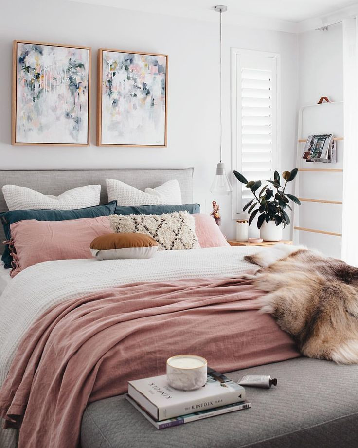 Excellent Bedrooms with Vintage touch A Chic Modern Bedroom with A White Gray and Blush Pink
