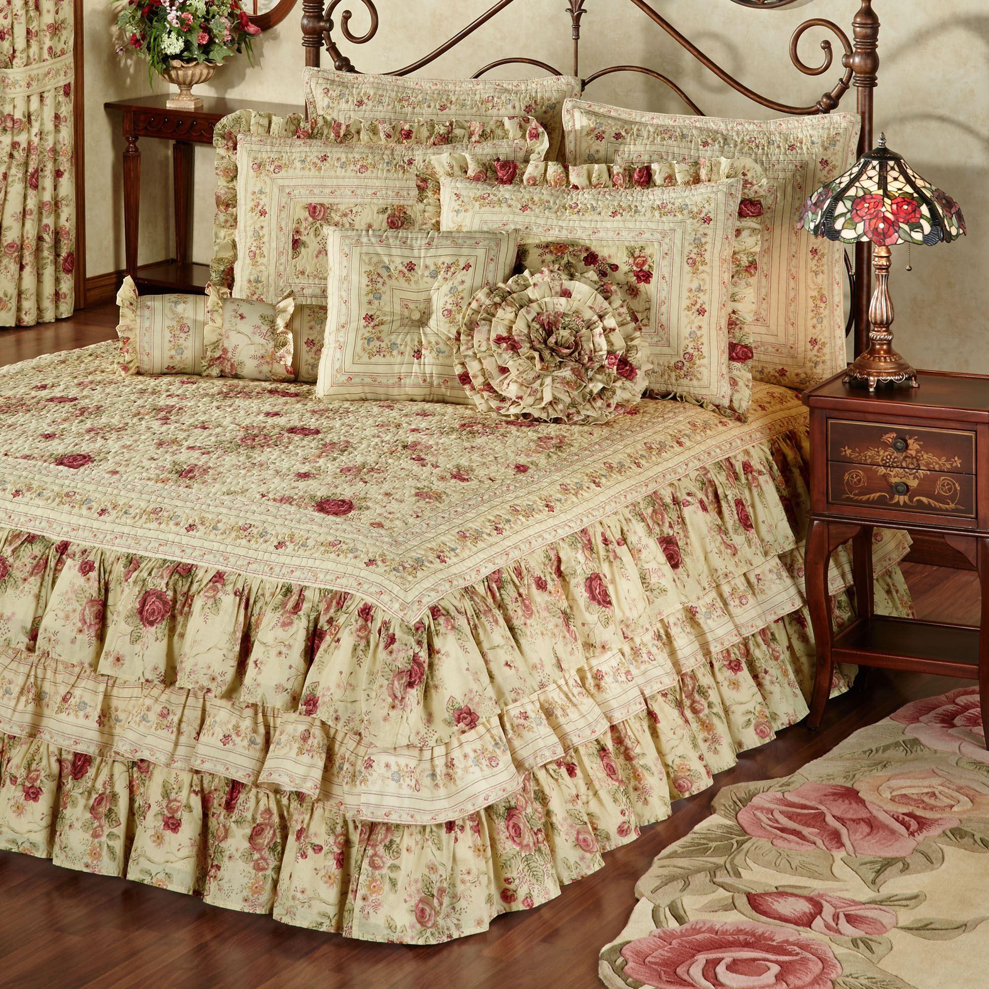 Excellent Bedrooms with Vintage touch Vintage Rose Floral Ruffled Grande Bedspread