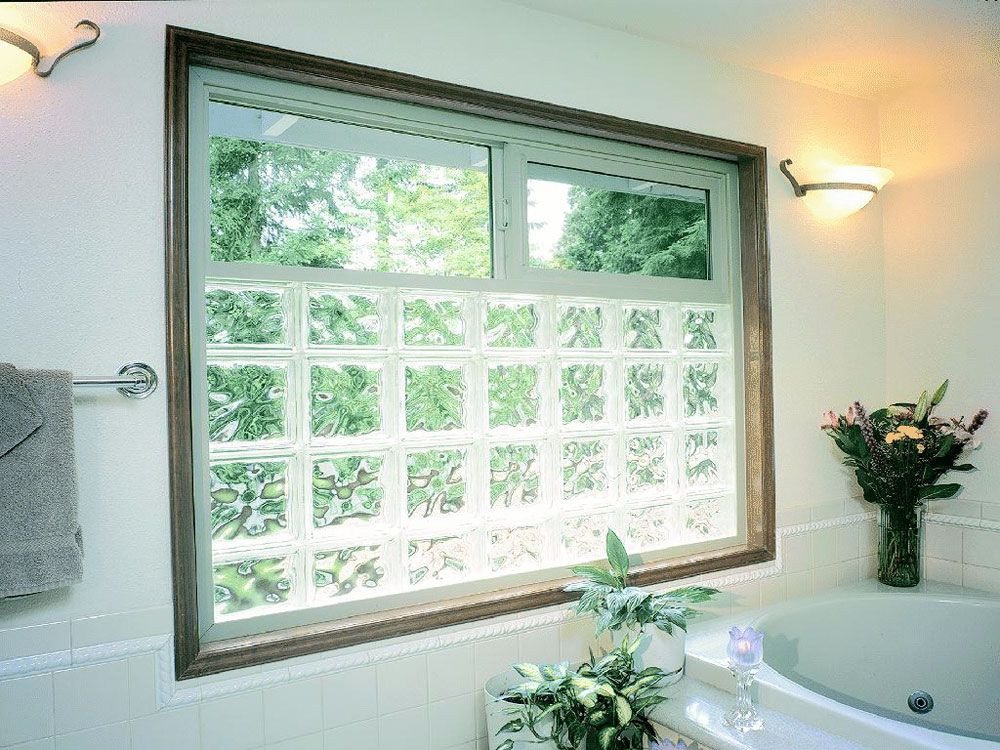 Ideas Glass Block Windows Glass Block Vinyl Framed Window with An Operable Slider On