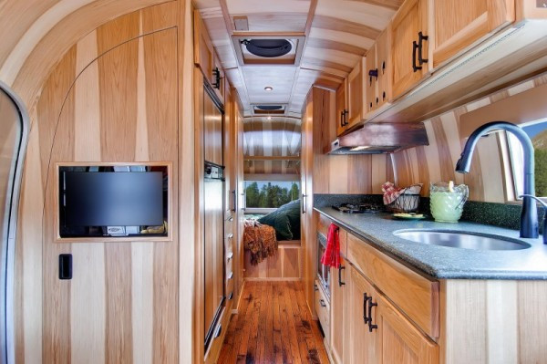 Interesting Airstream Interior Design 1954 Airstream Renovated Into Timeless Tiny Cabin On Wheels