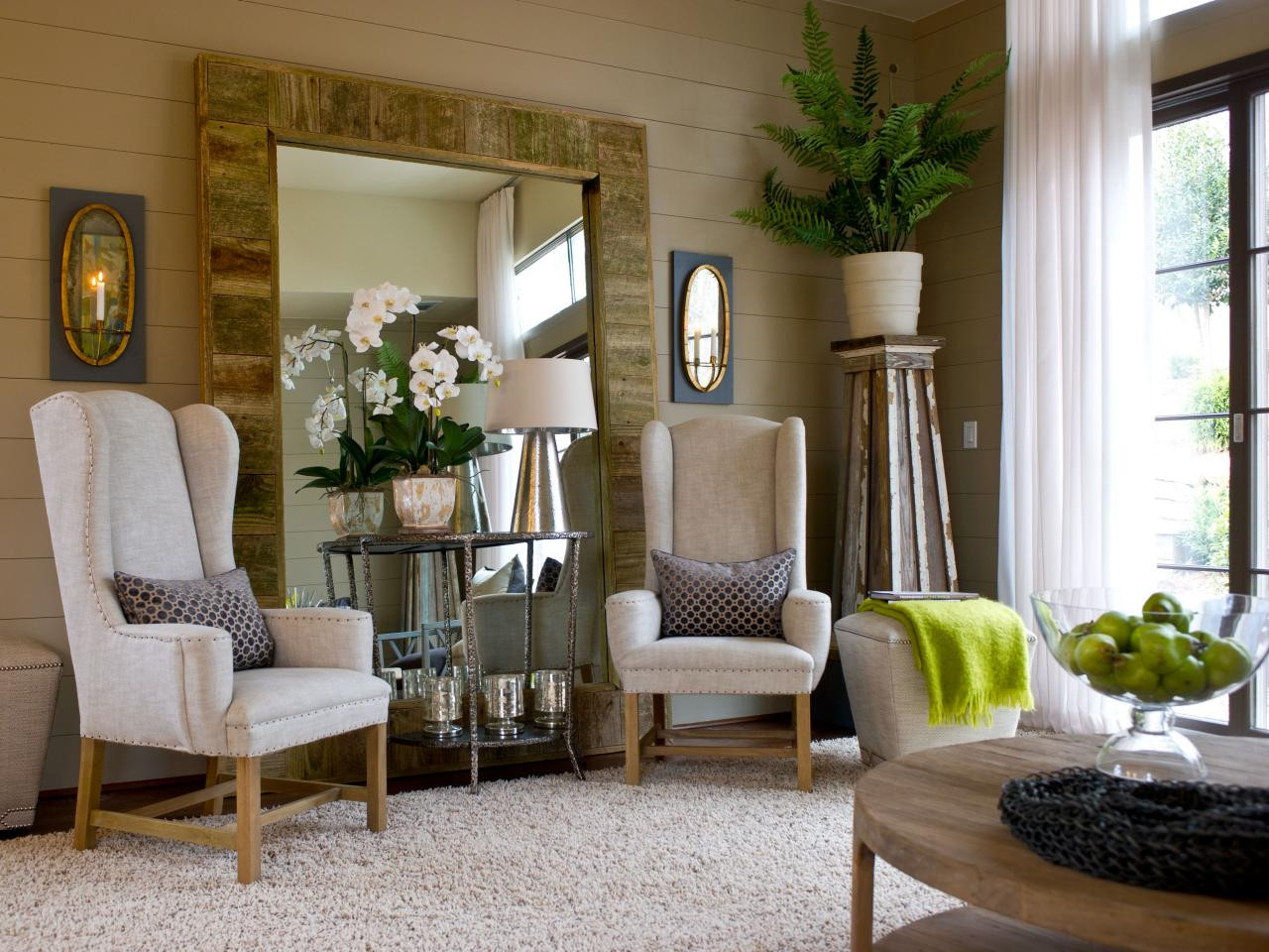 Living Room Mirrors Ideas Neutral Living Room with Oversized Wood Framed Mirror