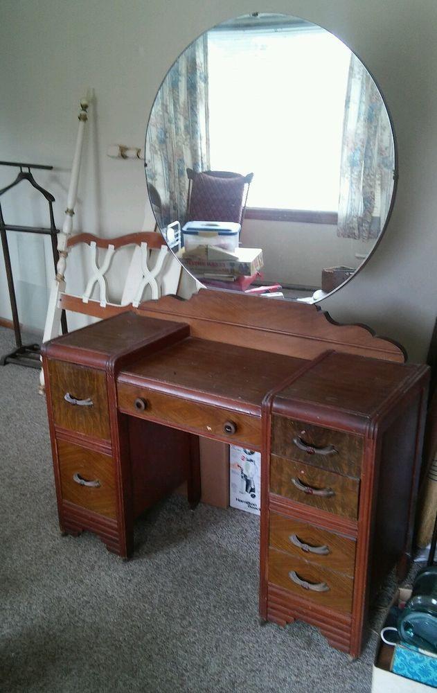 1940s Bedroom Furniture Styles 024 Vintage Mirror Vanity Dresser Waterfall Style 1940s
