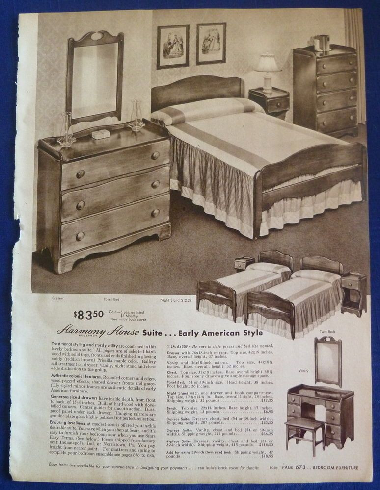 1940s Bedroom Furniture Styles 1940s Sears Furniture Ad