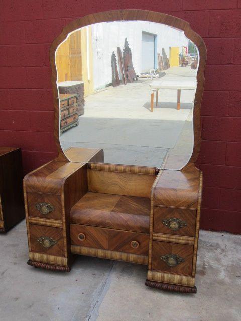 1940s Bedroom Furniture Styles American Waterfall Art Deco Vanity