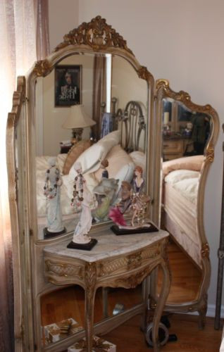 1940s Bedroom Furniture Styles Antique French Style Vanity with Marble top and Trifold