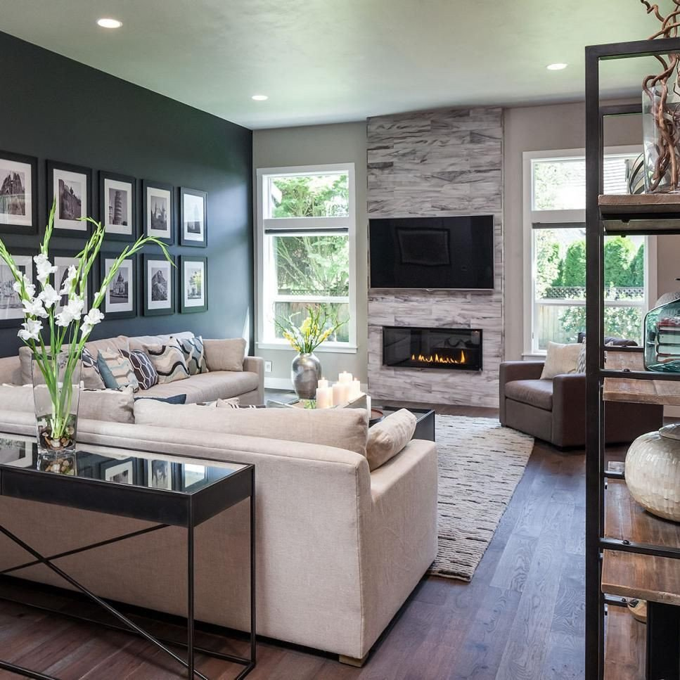 Accent Decor for Living Room the Dark Accent Wall Fireplace and Custom Wood Floors Add