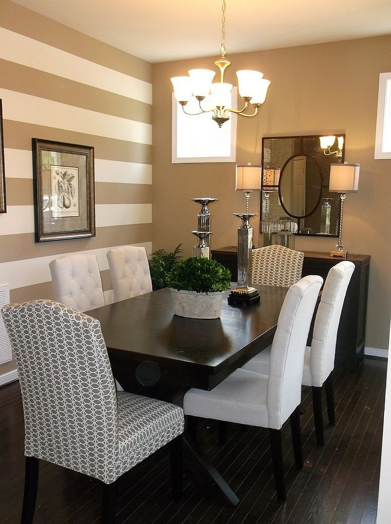Accent Decor for Living Room Traditional Dining Room with A Striped Accent Wall …