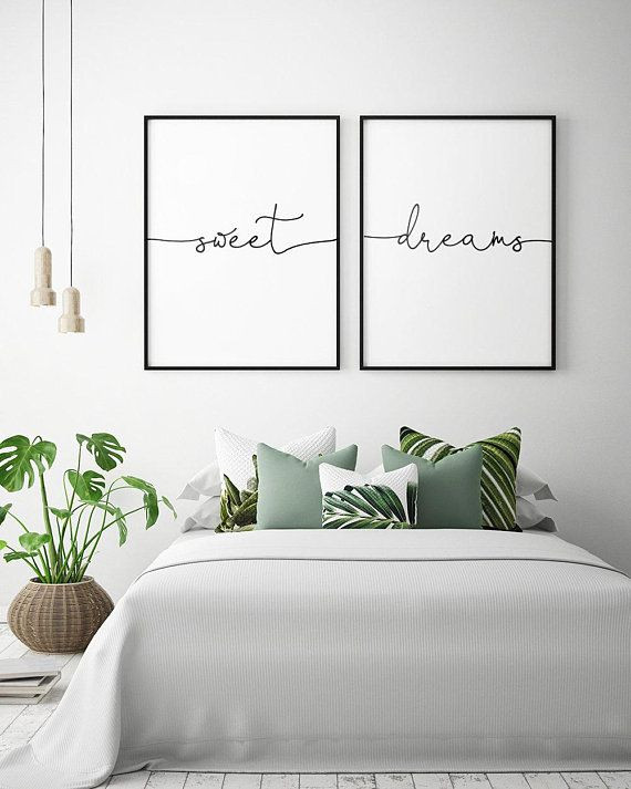 Arts for Bedroom Walls Bed Art Sweet Dreams Printable Art Set Of 2