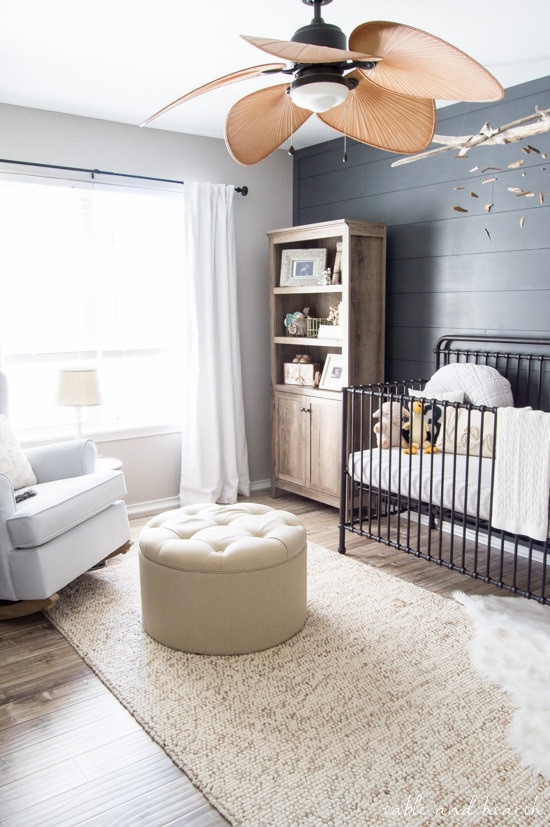 boy nursery ideas with accent wall gray and neutral Table and Hearth