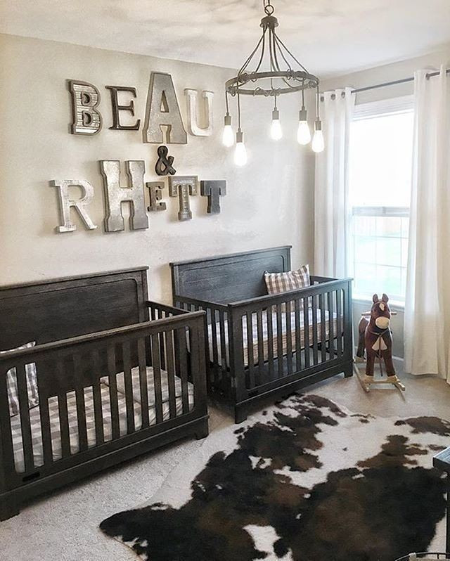 Baby Boy Bedroom Ideas Loving the Modern touches to This Rustic Twins Nursery