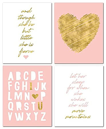 """Baby Girl Bedroom Decor 8"""" X10"""" Gold Heart Nursery Prints for Baby Girl & Children Room Decor & Decorations Perfect for Baby Shower Gift Ideas"""