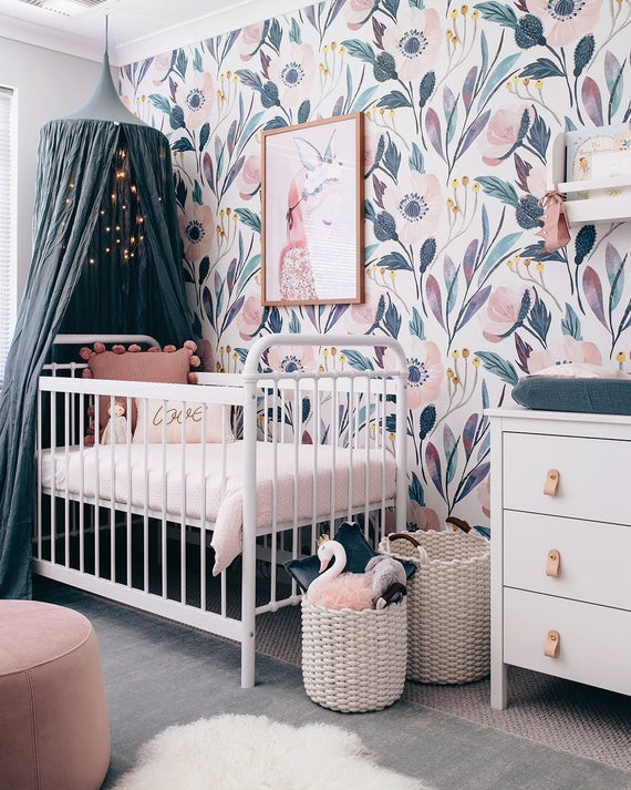 Baby Girl Bedroom Decor Moody Removable Wallpaper Nursery Wall Decor Nursery Wallpaper Wallpaper Peel and Stick Wallpaper Baby Girl Pink Nursery Wall Sticker