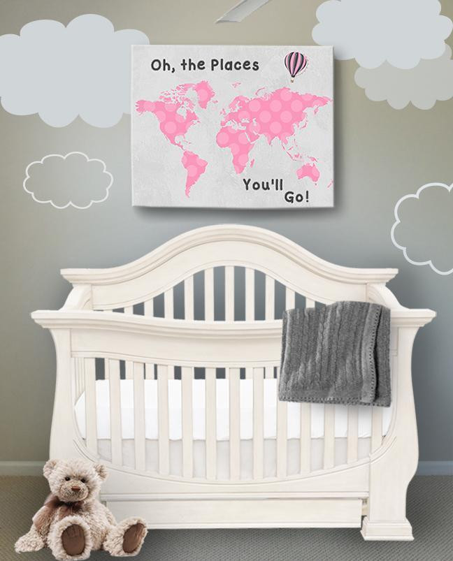 Baby Girl Bedroom Decor Oh the Spaces You Ll Go Dr Seuss Map Anvas Artfor Girl