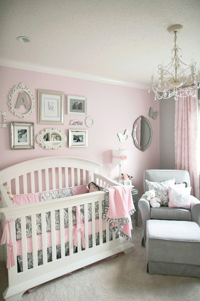 Baby Girl Bedroom Decor soft and Elegant Gray and Pink Nursery