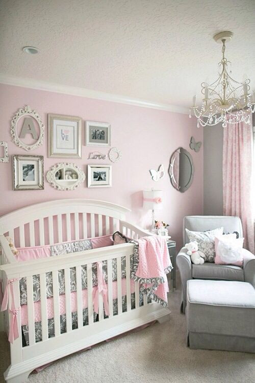 Baby Girl Bedroom Ideas soft and Elegant Gray and Pink Nursery