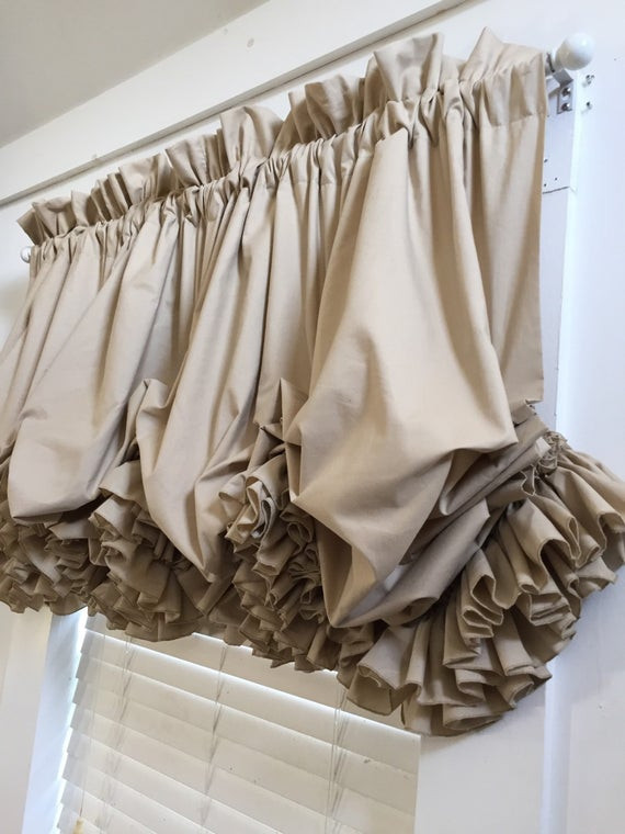 Balloon Curtains for Bedroom Double Ruffled Tea Dyed Muslin Balloon Curtain Valance
