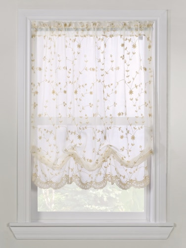 Balloon Curtains for Bedroom Embroidered Scalloped Rod Pocket Balloon Valance