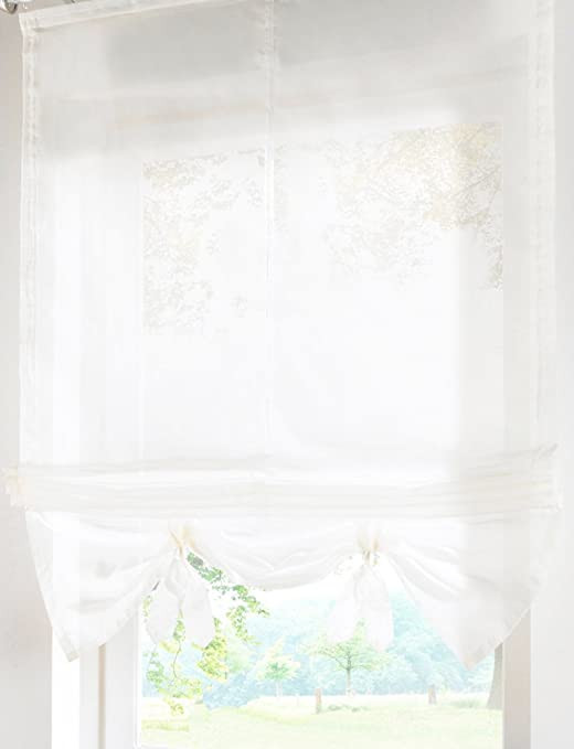 Balloon Curtains for Bedroom Livebycare Lifable Sheer Roman Shades Rod Pocket Balcony Window Balloon Curtain Voile Drape Drapery Valance Panels for Bedroom Drawing Room