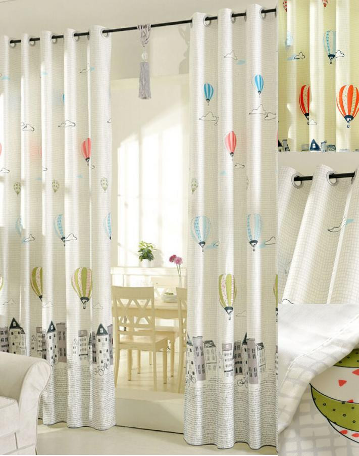 Balloon Curtains for Bedroom Printed Air Balloon Pattern Beige Poly Cotton Blend Kids Curtains