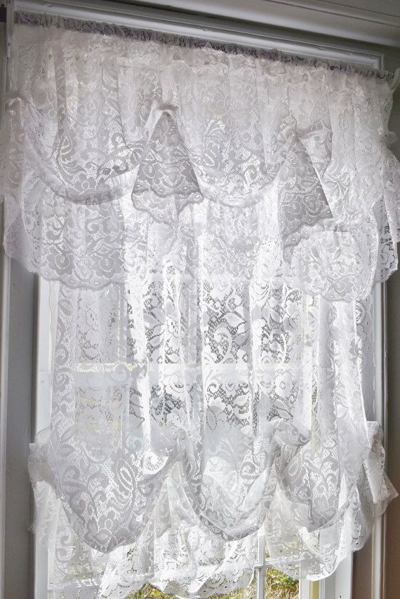 Balloon Curtains for Bedroom White Lace Balloon Curtain and Valance sold