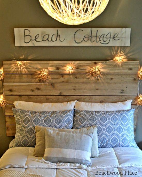 Beach theme Bedroom Decor Beach theme Guest Bedroom with Diy Wood Headboard Wall Art