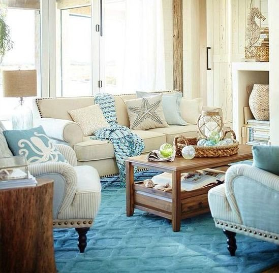 Beach themed Living Room Decor Blue & Sandy Beige Living Room