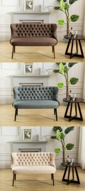 Bedroom Bench with Back the Room Style Straight Back Tufted Linen Upholstered Love Seat Bench In 3 Color