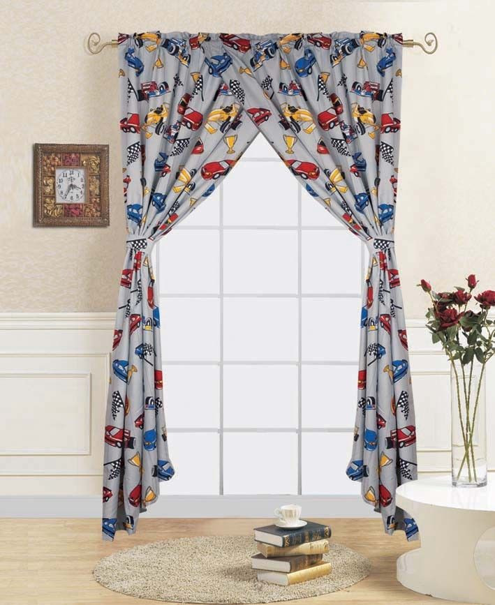 "Bedroom Curtains at Walmart 4 Pc Race Car Kids Bedroom Window Panel Pair Set Of Two Rod Pocket Curtains 38""in Wide X 84""in Length Each with Matching Tie Backs Walmart"