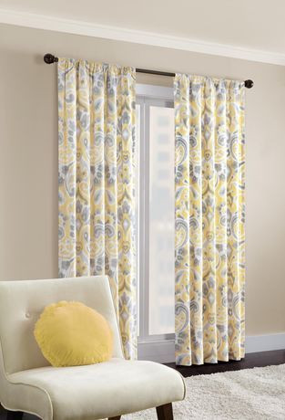 Bedroom Curtains at Walmart Hometrends Capris Twill Window Panel Walmart