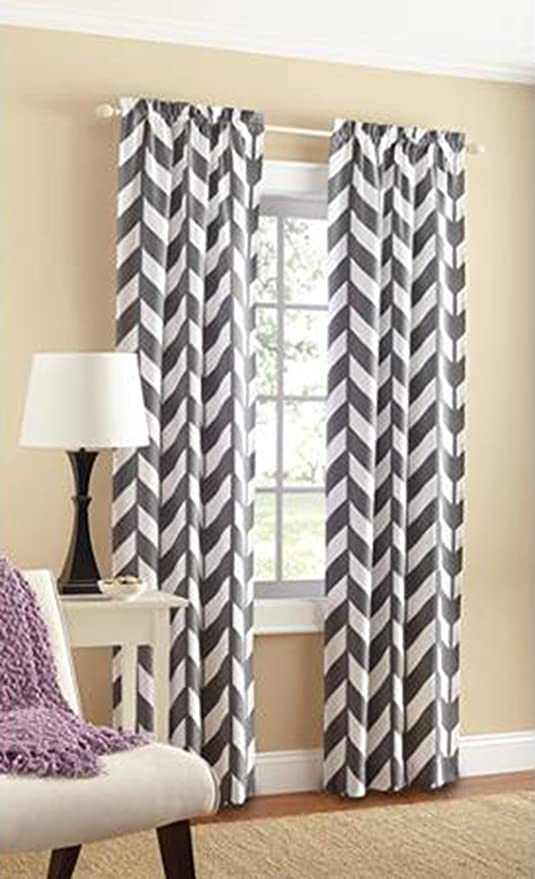 Bedroom Curtains at Walmart Mainstays Chevron Polyester Cotton Curtain Panels Set Of 2 Grey White 56 Inch X 84 Inch
