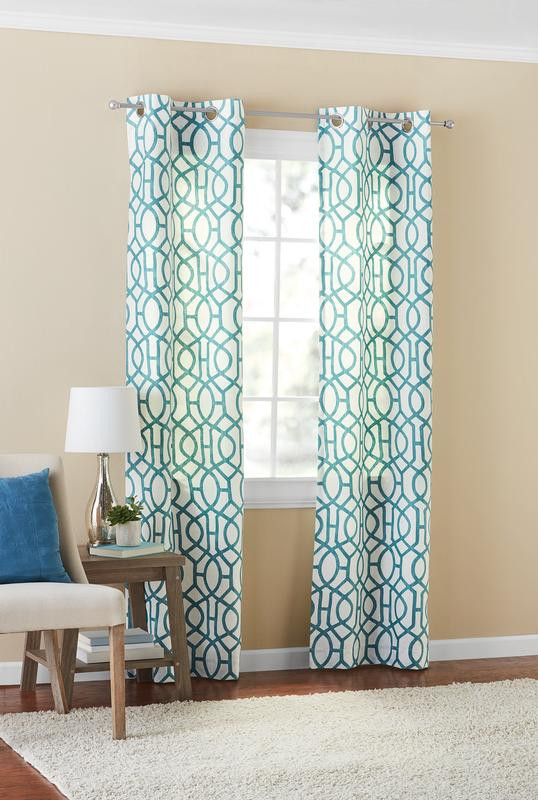 Bedroom Curtains at Walmart Mainstays Fretwork Window Curtain Panel Pair Walmart