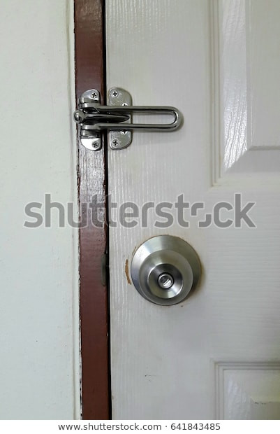 Bedroom Door Handle with Lock Knobs Hinges Lock Bedroom Door Stock Edit now