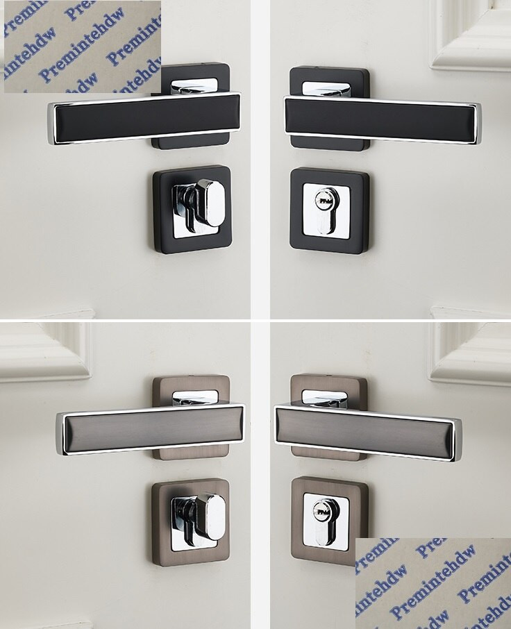 Bedroom Door Handle with Lock Us $54 0 Zinc Alloy Interior Bedroom Door Square Rosette Lock Set Turn Thumb Thumb Turn Chrome Black Grey Dual Color Magnet Lock Body Handlesets