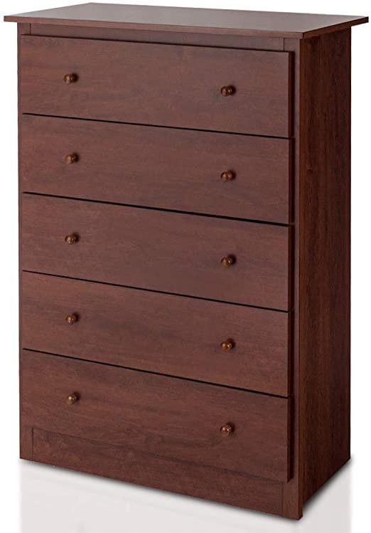 Bedroom Dressers and Chests Giantex 5 Drawer Chest Storage Dresser Wooden Clothes organizer Bedroom Hallway Entryway Furniture Storage Cabinet Espresso