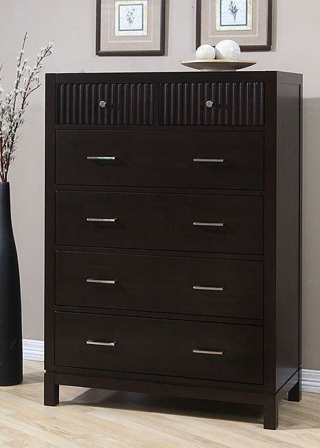 Bedroom Dressers and Chests Wavelength Contemporary Brown Wood Finish 6 Drawer Chest