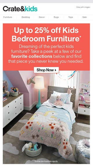 Bedroom Furniture for Sale Kids Bedroom Furniture = Sale now Crate and Kids Email