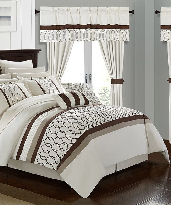 Bedroom In A Bag with Curtains Beige Zaire Bedding Set